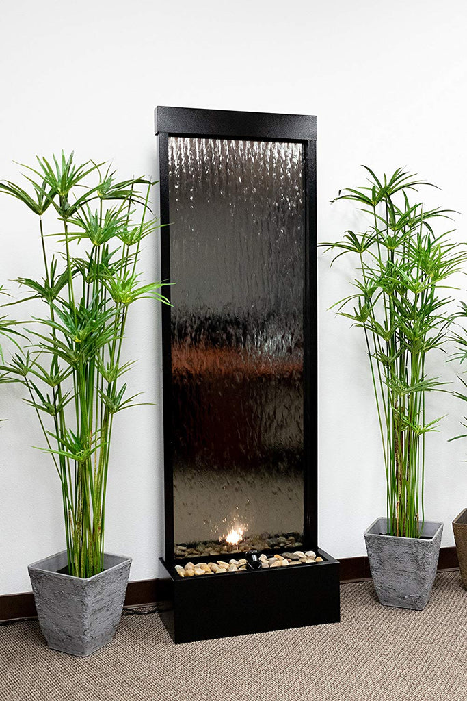 Bronze Mirror Waterfall Fountain with Stones and Light - Soothing Company