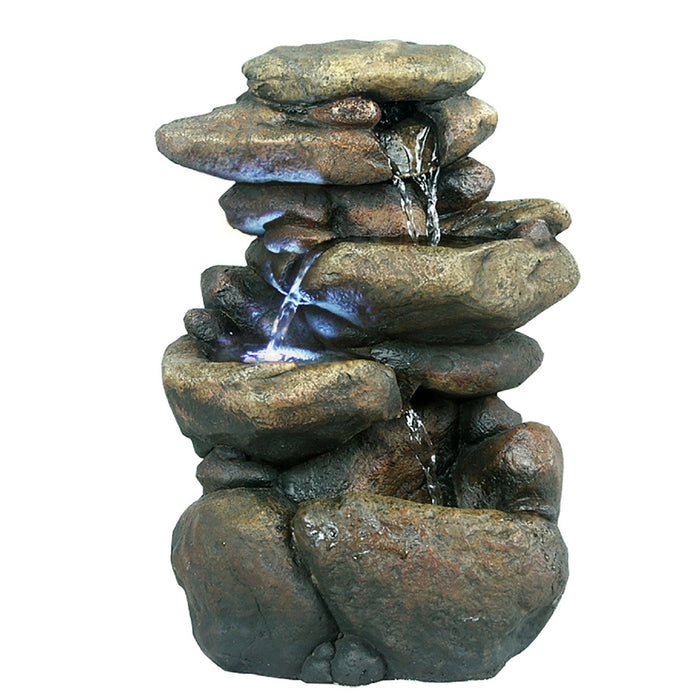 3 Tier Rock Tabletop Fountain With White LED Lights - Soothing Company