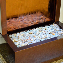 6' Gardenfall Bronze Mirror and Dark Copper Floor Fountain with LED Lights - Soothing Company