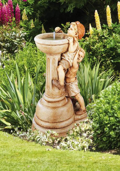 Jack and Jill Pedestal Garden Fountain - Soothing Company