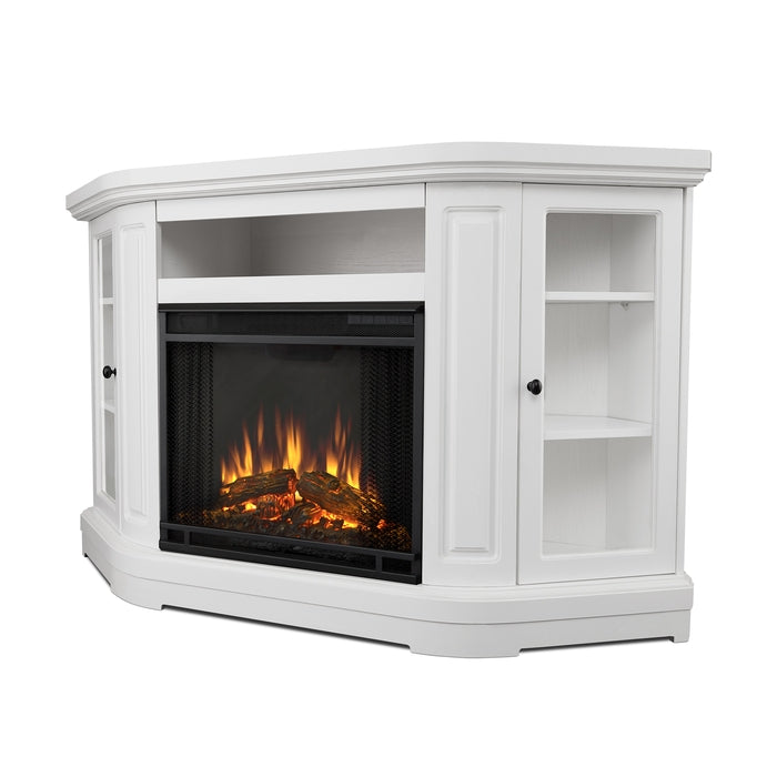 Windom Corner Electric Fireplace in White - Soothing Company