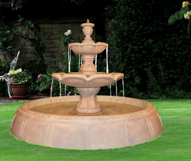 Finial Tiered Outdoor Fountain in Perpetual Pool - Soothing Company