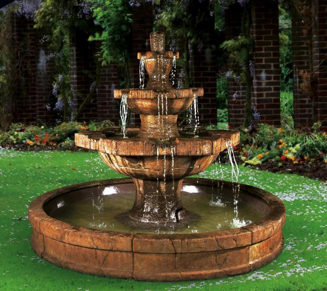 Grenoble Cast Stone Outdoor Fountain in Pool - Soothing Company