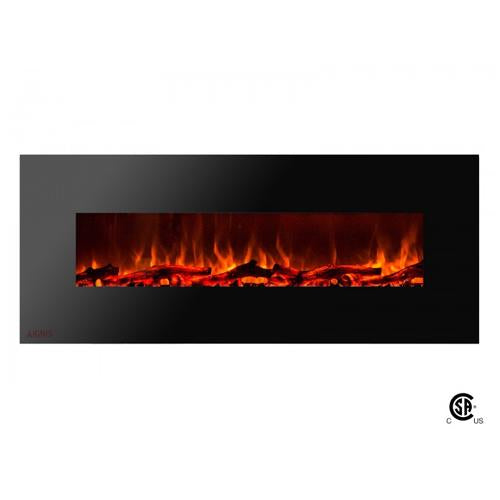 "60"" Royal Wall Mount Electric Fireplace with Logs - Soothing Company"