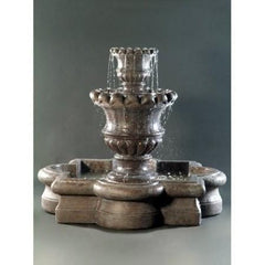 Scallop Urn Tiered Water Fountain With Quartrefoil Basin - Soothing Walls