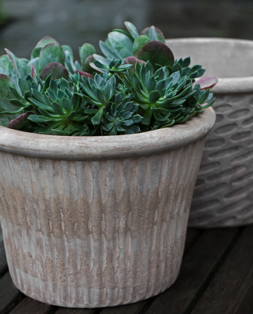 Stria Planter - Set of 3 in Antico Terra Cotta - Soothing Company