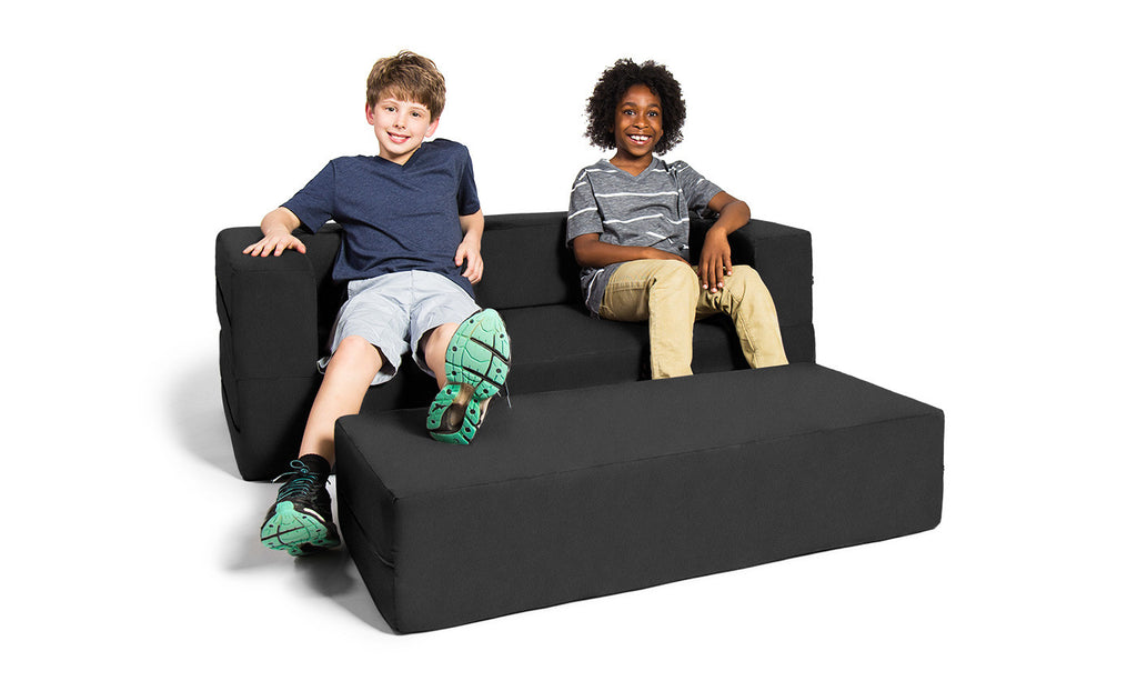 Kids Zipline Convertible Sofa & Large Ottoman Microsuede Black - Soothing Company