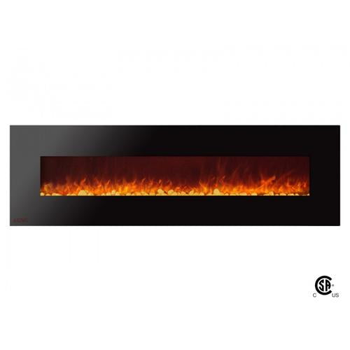 "72"" Royal Wall Mount Electric Fireplace with Pebbles - Soothing Company"