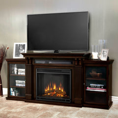 Calie Entertainment Center Electric Fireplace in Dark Walnut - Soothing Company