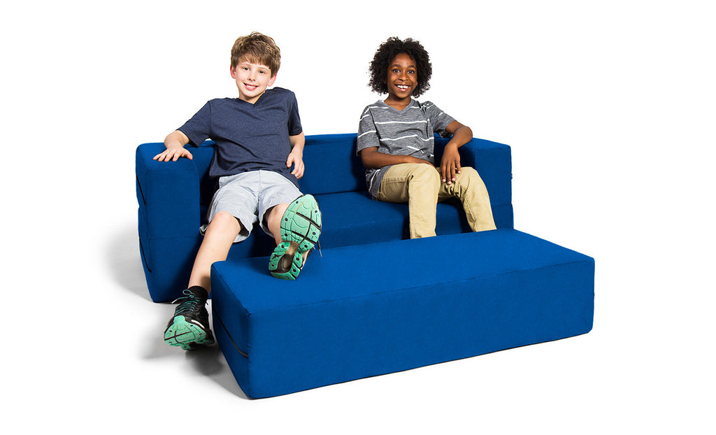 Kids Zipline Convertible Sofa & Large Ottoman Microsuede Blueberry - Soothing Company