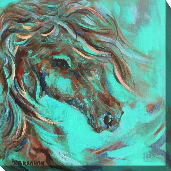 Teal Horse #2 Outdoor Canvas Art - Soothing Company