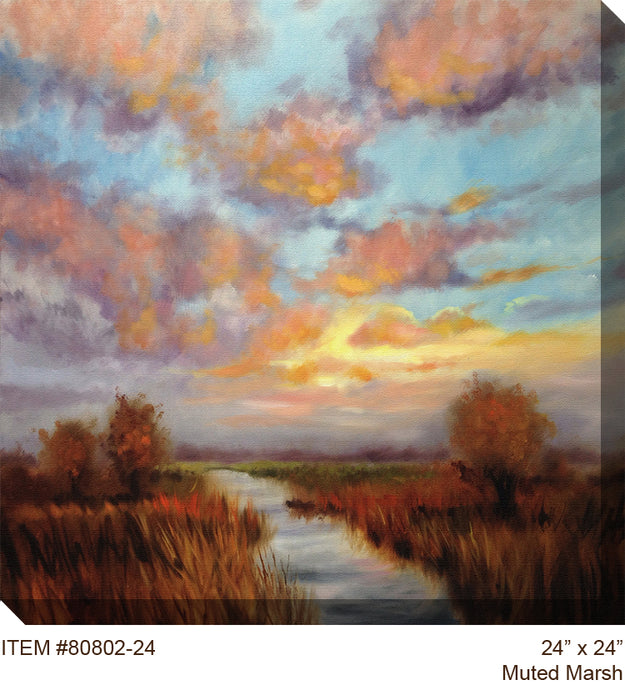 Muted Marsh Outdoor Canvas Art -Soothing Company