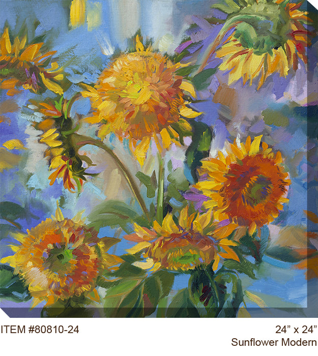 Sunflower Modern Outdoor Canvas Art - Soothing Company