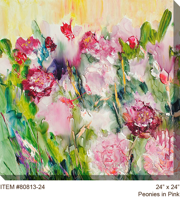 Peonies In Pink Outdoor Canvas Art - Soothing Company