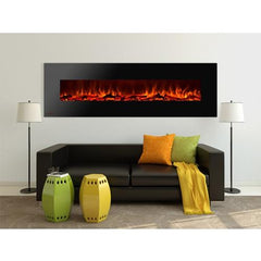 "95"" Royal Wall Mount Electric Fireplace with Logs - Soothing Company"