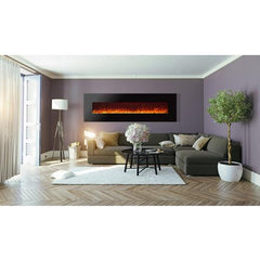 "95"" Royal Wall Mount Electric Fireplace with Pebbles - Soothing Company"