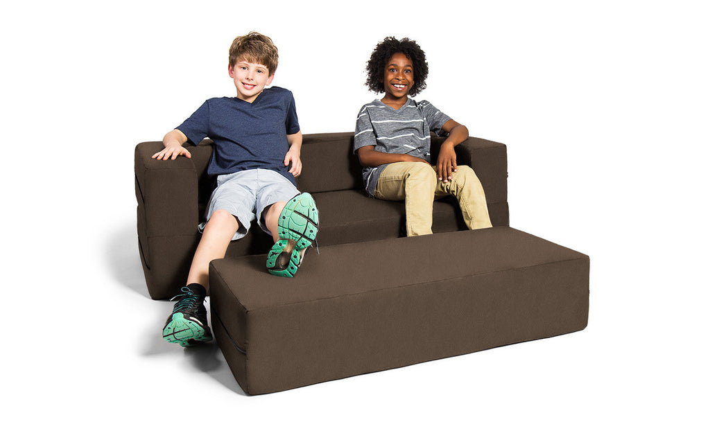 Kids Zipline Convertible Sofa & Large Ottoman Microsuede Chocolate - Soothing Company