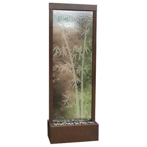 7.5' Gardenfall Etched Bamboo Floor Fountain with LED Lights - Soothing Company