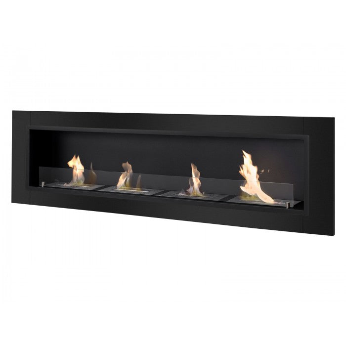 Ignis Accalia Black Bio Ethanol Recessed Wall Fireplace - Soothing Company