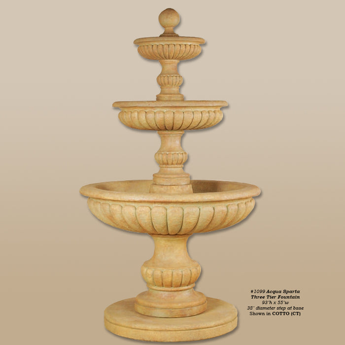 Acqua Sparta Three Tier Outdoor Water Fountain - Soothing Company