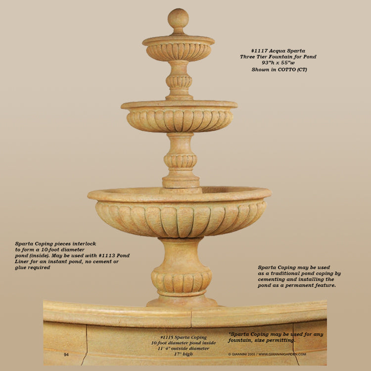 Acqua Sparta Three Tier Outdoor Water Fountain for Pond - Soothing Company