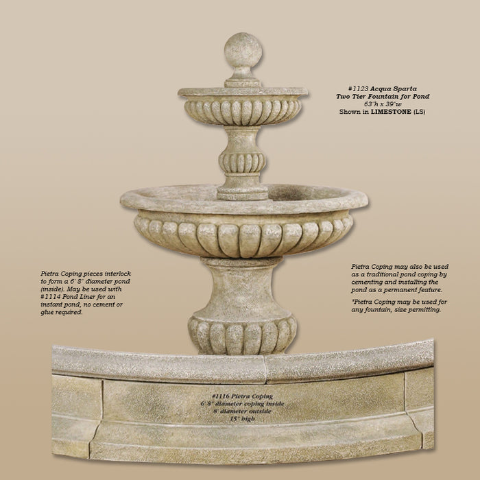 Acqua Sparta Two Tier Outdoor Water Fountain For Pond - Soothing Company