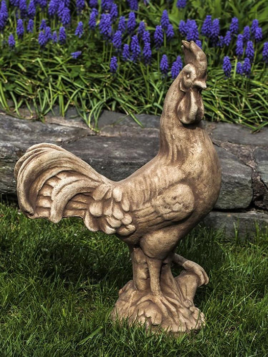 Antique Rooster Cast Stone Garden Statue - Soothing Company
