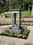 Smooth Center Rain Fountain with Column and Square Basin