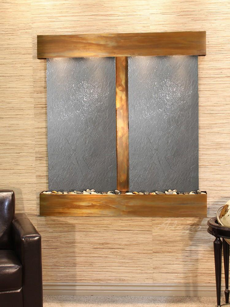 Aspen Falls: Black FeatherStone and Rustic Copper Trim with Squared Corners