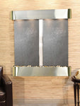 Aspen Falls: Black FeatherStone and Stainless Steel Trim with Rounded Corners