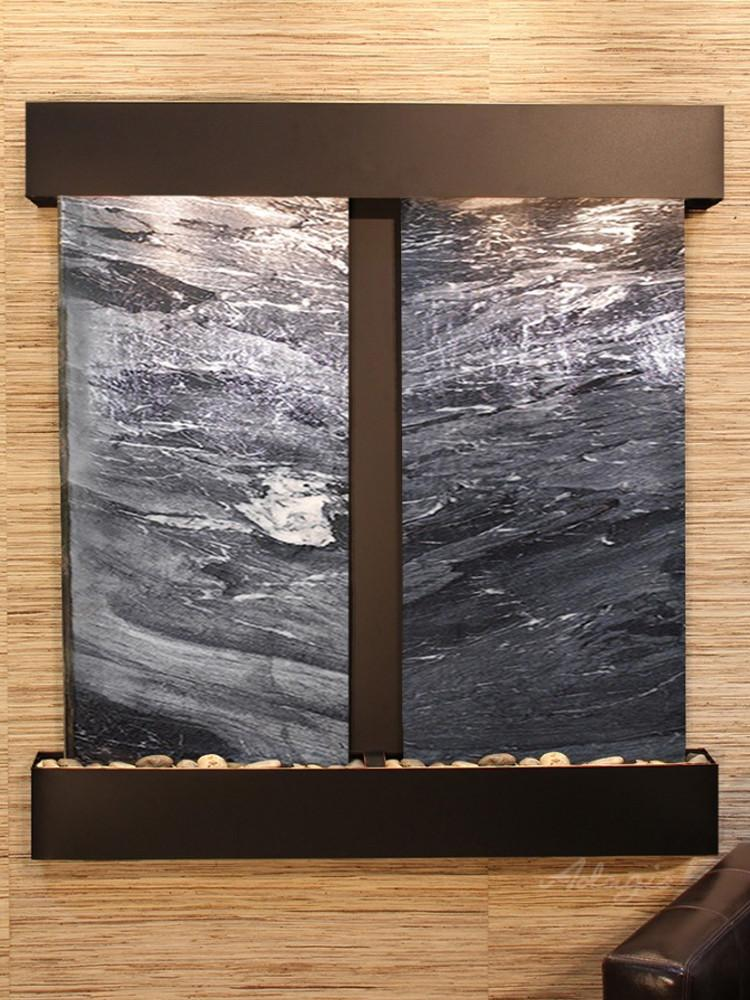 Aspen Falls: Black Spider Marble and Blackened Copper Trim with Squared Corners