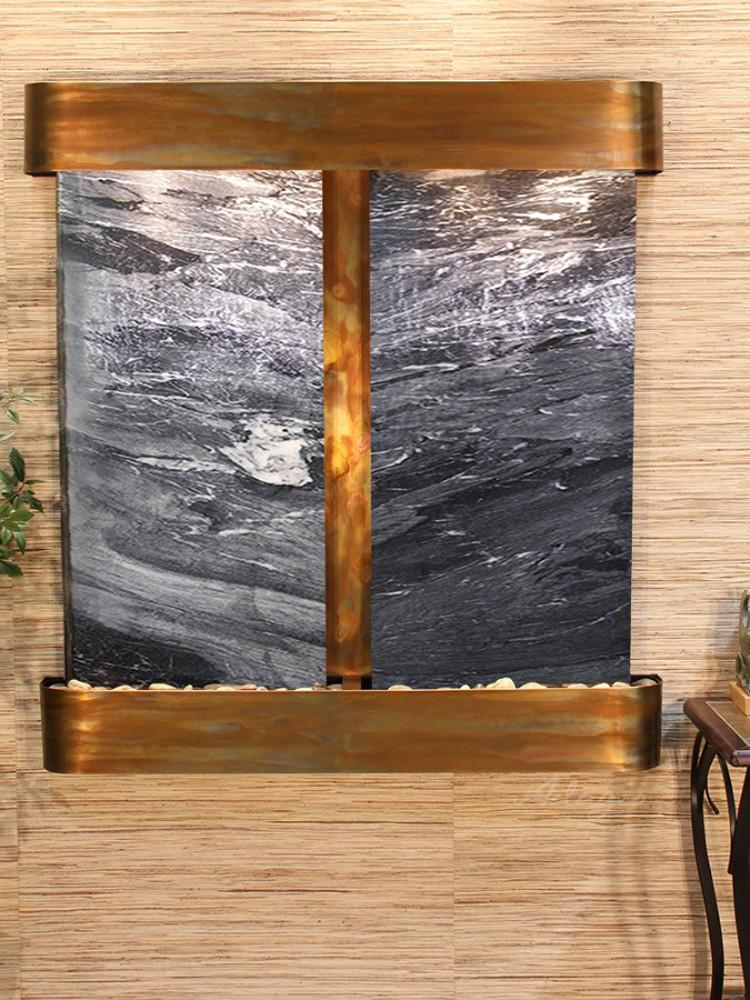 Aspen Falls: Black Spider Marble - Rustic Copper Trim - Rounded Corners