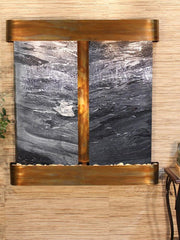 Aspen Falls: Black Spider Marble and Rustic Copper Trim with Rounded Corners
