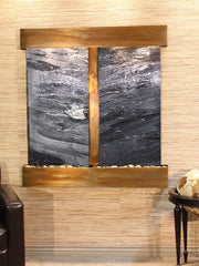 Aspen Falls: Black Spider Marble and Rustic Copper Trim with Squared Corners