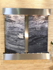 Aspen Falls: Black Spider Marble - Stainless Steel Trim - Squared Corners