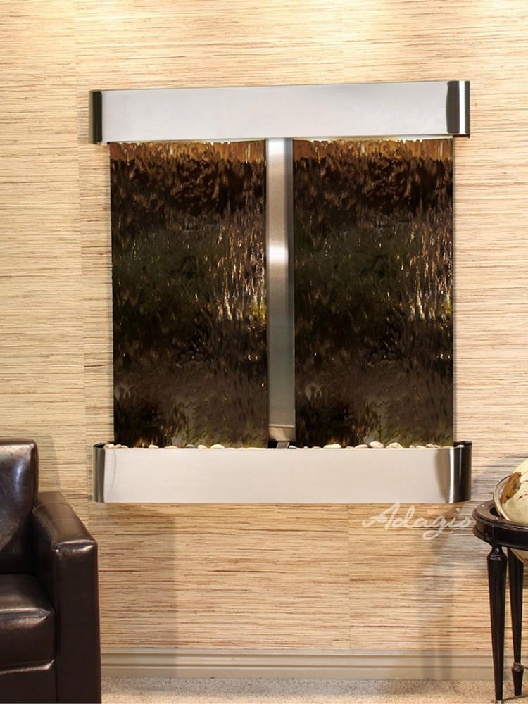 Aspen Falls: Bronze Mirror and Stainless Steel Trim with Rounded Corners