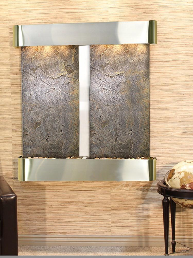 Aspen Falls: Green FeatherStone and Stainless Steel Trim with Rounded Corners