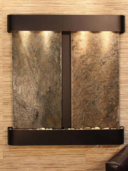 Aspen Falls: Green Slate and Blackened Copper Trim with Rounded Corners