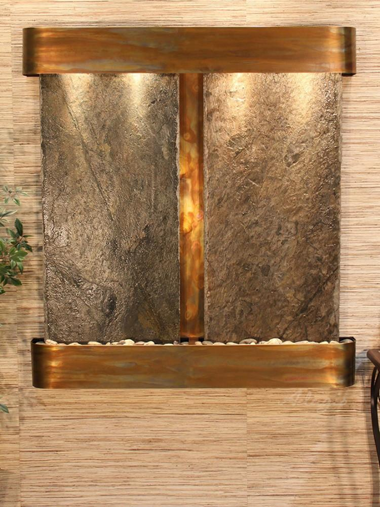 Aspen Falls: Green Slate and Rustic Copper Trim with Rounded Corners