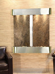 Aspen Falls: Green Slate and Stainless Steel Trim with Rounded Corners