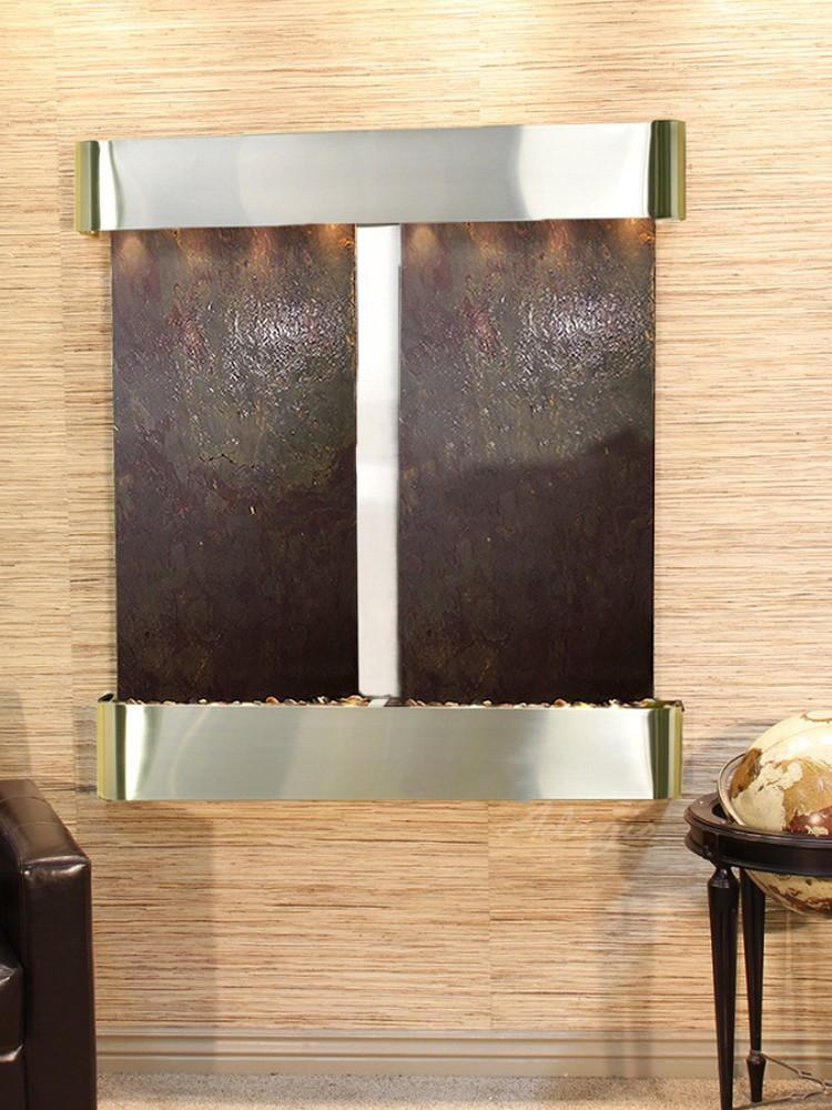 Aspen Falls: Multi-Color FeatherStone and Stainless Steel Trim with Rounded Corners