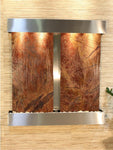 Aspen Falls: Rainforest Brown Marble - Stainless Steel Trim - Squared Corners