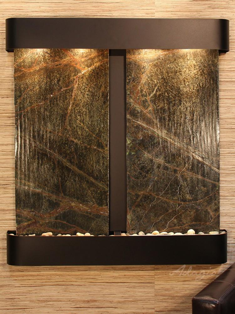 Aspen Falls: Rainforest Green Marble and Blackened Copper Trim with Rounded Corners