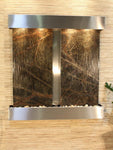 Aspen Falls: Rainforest Green Marble - Stainless Steel Trim - Squared Corners