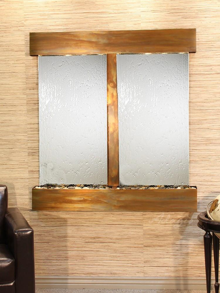 Aspen Falls: Silver Mirror and Rustic Copper Trim with Squared Corners