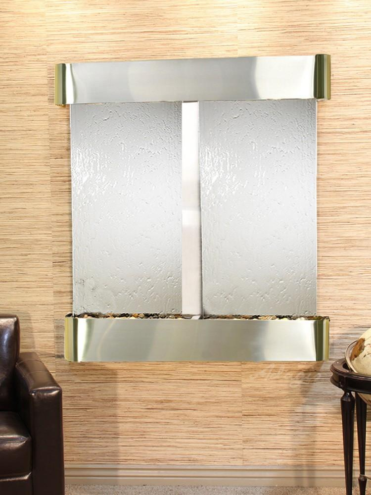 Aspen Falls: Silver Mirror and Stainless Steel Trim with Rounded Corners