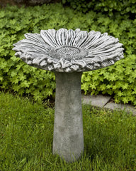 Sunflower Cast Stone Birdbath - Soothing Company