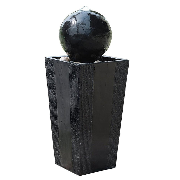 Sphere on Stand Fountain with White LED Lights - Soothing Company
