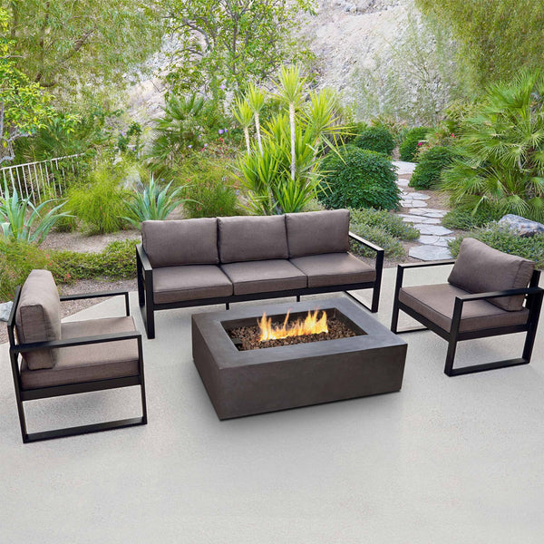 Baltic Outdoor 3-Seat Sofa - Black Aluminum Frame with Desert Brown Cushions - Soothing Company
