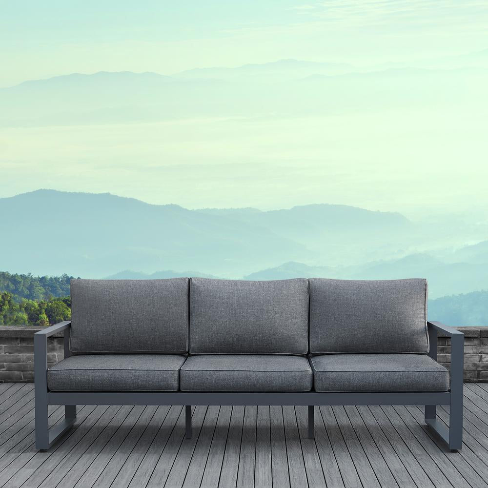 Baltic Outdoor 3-Seat Sofa - Gray Aluminum Frame with Gray Cushions - Soothing Company